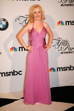 Angela Kinsey at the MSNBC after party following the White House Correspondents Association dinner.
